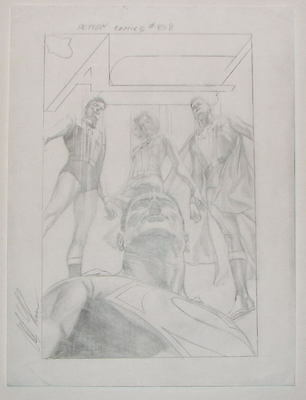 Alex Ross - ACTION COMICS 858 w LEGION - ORIGINAL DETAILED COVER PRELIM SKETCH
