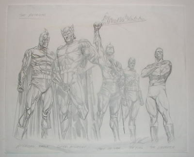 Alex Ross - THE PATRIOTS - ORIGINAL DETAILED PENCILS / ARTWORK PRELIM SKETCH