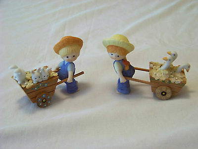 Set of 2 - Enesco: COUNTRY COUSINS - KATIE & SCOOTER w/ Carts of GEESE & BUNNIES