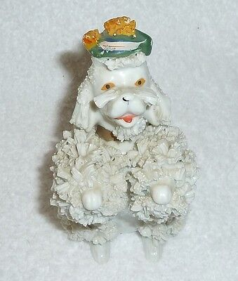Vintage Fancy White Spaghetti Poodle Dog Figurine Green Hat Tam JAPAN 1950s
