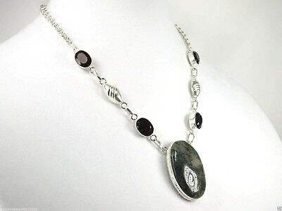 "N+0135, 27x42 mm 19"" chain Oval Moss Agate, Red Garnets Pendant Necklace Silver"