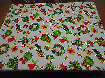 """Vintage Christmas TABLECLOTH 50"""" x 53""""  Angels Trees Santa Wreath Candy Canes"""