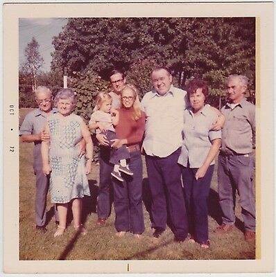 VINTAGE 70s Square PHOTO Family 3 Generations Adults w/ Little Girl