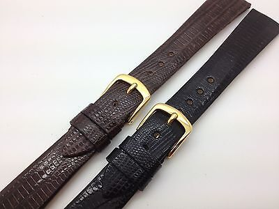 18mm Black Brown Genuine Teju Lizard Hadley Roma Leather Watch Band MS969