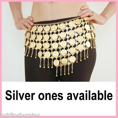Belly Dance Coin Belt Gold/Sliver Bells Hip Chain Scarf Dancing Costume AB10