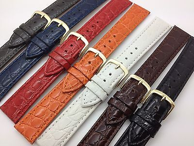 20mm Black Brown White Blue Crocodile Grain Hadley Roma Leather Watch Band MS717