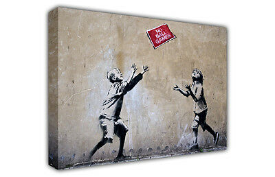 Large Canvas Picture Prints Banksy No Ball Games / Wall Art / Graffiti / Photo
