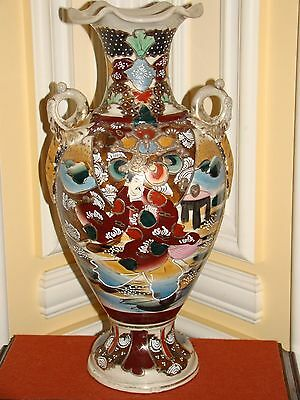 """RARE ANTIQUE/OLD VINTAGE ASIAN PORCELAIN HAND PAINTED HANDMADE VASE 17 3/4""""TALL"""