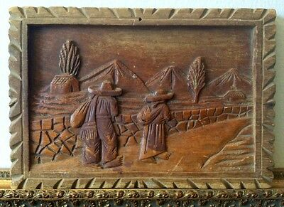 Hand Carved Wooden Plaque Sculpture