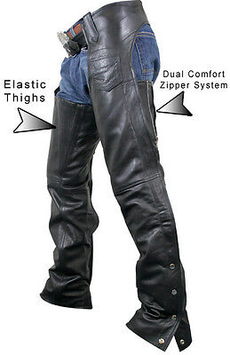 Womens PREMIUM LEATHER DUAL COMFORT MOTORCYCLE CHAPS RETAIL $200