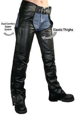 NEW Womens BRAIDED COMFORT LEATHER MOTORCYCLE CHAPS  RETAIL $159