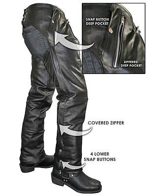 NEW PREMIUM COWHIDE LEATHER MOTORCYCLE Biker CHAPS WITH EZ OUT INSULATED LINER