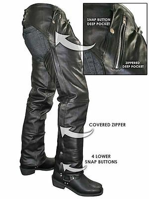PREMIUM COWHIDE LEATHER MOTORCYCLE Biker CHAPS WITH EZ OUT INSULATED LINER $169