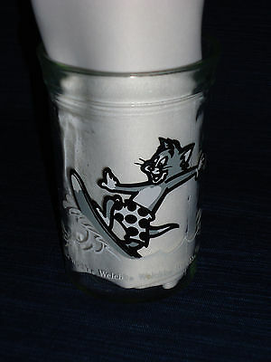 """4"""" Welch's Glass Jelly Jar  TOM & JERRY surfing 1990 Anchor Hocking Glass"""