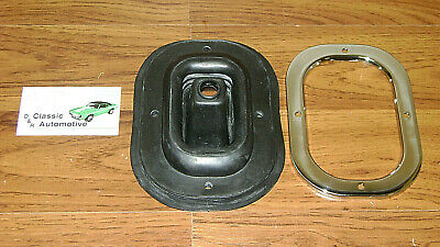Shift Boot w/ Chrome Retainer Plate with round bar shifter 69 Camaro Firebird