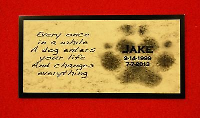 "2""x4"" Custom TWO TONE Aluminum Paw Print Tag Pet Memorial Urn Plaque Art"