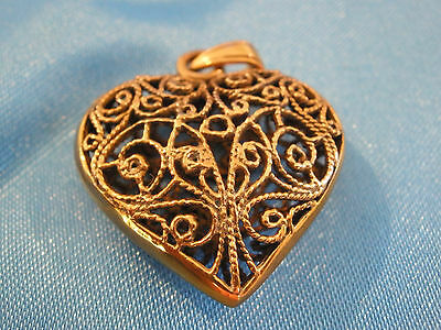 Heart Filigree Pendant Gypsy Bronze gold medieval new age pagan gifts wicca love