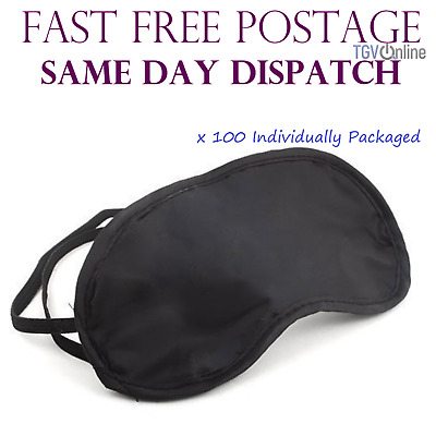 100 X Travel Eye Masks, Sleep Sleeping Cover Rest Eyepatch Blindfold (Black) New