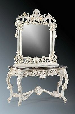 SOLID MAHOGANY MARBLE OFF WHITE SHABBY CHIC FRENCH ITALIAN CONSOLE TABLE MIRROR