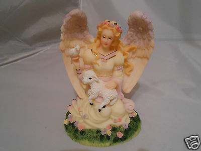 """Kneeling Angel with Lamb and Dove / Flowers - Figurine - 6¼"""" Tall - Multi Color"""