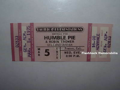 HUMBLE PIE / ROBIN TROWER Unused 1975 Concert Ticket & Backstage Pass FRESNO