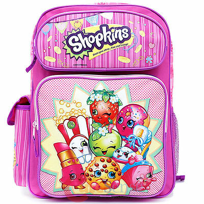 """Shopkins Large School Backpack 16"""" inches Girls Book Bag - Licensed Product"""