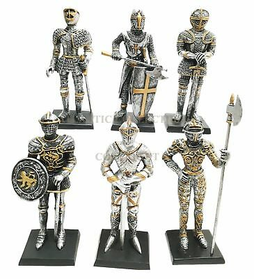 "Set of Six Unit Statue Medieval Knight of Valor Crusader 4""H Figurine Miniature"