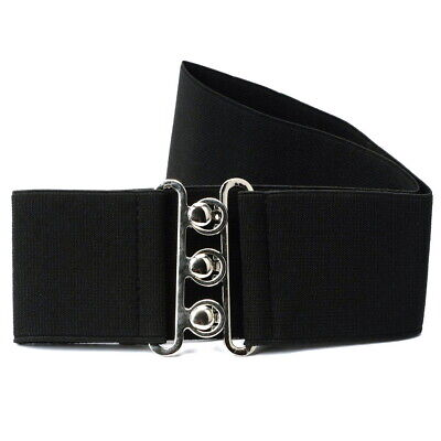 Black Catwalk Style Ladies Women Wide Elastic Waist Wrap Belt Band Cinch 2 Inch