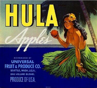 Seattle Washington State Hula Hawaii Apple Fruit Crate Box Label Art Print