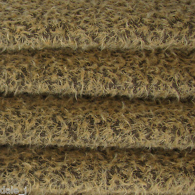 """1/4 yd 300S/CM Tan w Dk Bk INTERCAL 1/2"""" Ultra-Sparse Curly Matted Mohair Fabric"""