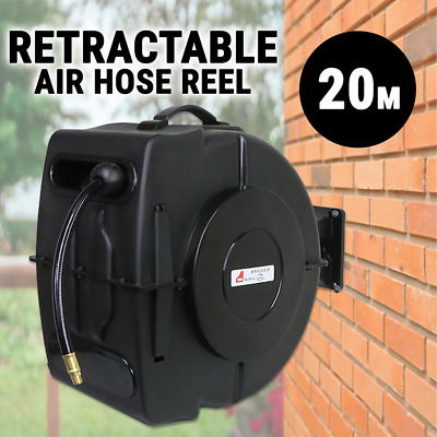 Air Hose Reel Retractable w/ 20M Hose, Mountable Garden Watering Rewind Tool