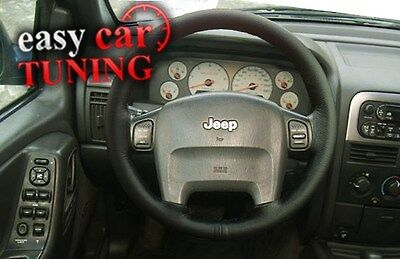 For Jeep Grand Cherokee Wj Black Real Genuine Leather Steering Wheel Cover