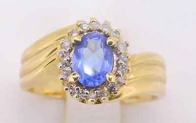 14k Gold Oval Genuine Natural Tanzanite Ring with Round Diamonds (#J786)