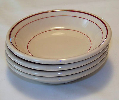 McNicol ROLOC China: Set of 4 BERRY BOWLS (Tan w/ Red Stripes)