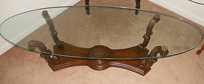 Beautiful Vintage Weiman Heirloom Glass Top Coffee Table Post Depression Era
