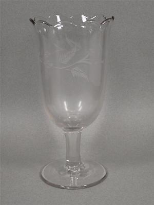 Eapg Clear Glass Celery Vase Scalloped Rim & Etched Wheat Design - 8 1/2""