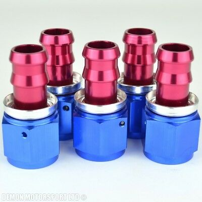 -10 (AN10) Straight (5 Pack) Barb Push-On Hose Fitting Alloy Red & Blue
