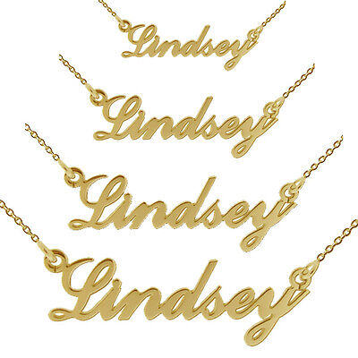 9Ct Gold Plated Carrie Style Any Name Necklace Mini Small Medium Large & Chain