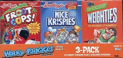 Wacky Packages Stickers Series Nine 3-Pack Cereal Card Box Collection