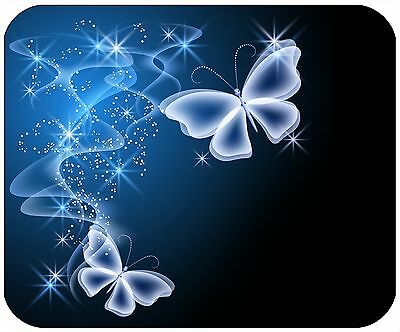 Mouse Pad Custom Personalized, Thick Mousepad-Blue Butterflies-Add Any Text Free