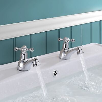 Stafford Traditional Classic Bathroom Basin Taps Hot & Cold Pair Victorian