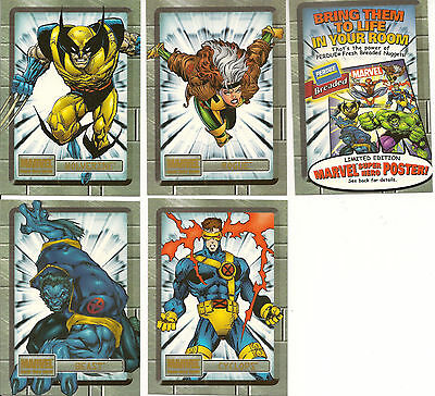 MARVEL Perdue Chicken X-MEN Promo Cards Set of 5 WOLVERINE BEAST ROGUE CYCLOPS
