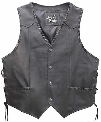 MENS Black LEATHER WAISTCOAT / Biker Vest Braided - Sides Laced up