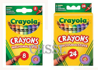 Crayola Beginnings 8 OR 24 Assorted Wax Crayons Colouring Crayons