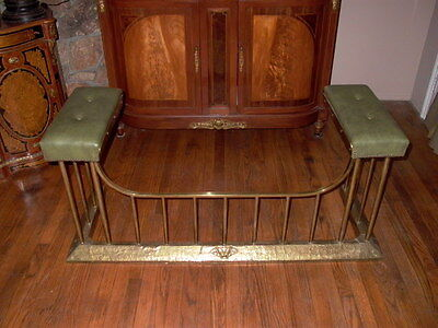 Antique Brass Fireplace Fender with Leather Seats
