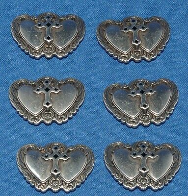 Double Heart Concho Screw Back Fitting 25mm 6 pack Craft larp Leathercraft