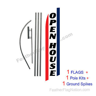 Open House (brw) 15' Feather Banner Swooper Flag Kit with pole+spike