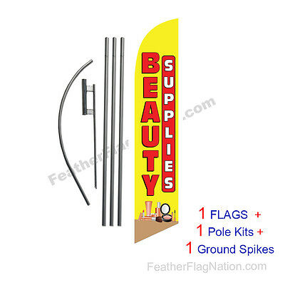 Beauty Supplies 15' Feather Banner Swooper Flag Kit with pole+spike