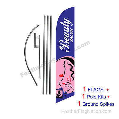 Beauty Salon 15' Feather Banner Swooper Flag Kit with pole+spike