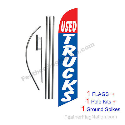 Used Trucks 15' Feather Banner Swooper Flag Kit with pole+spike